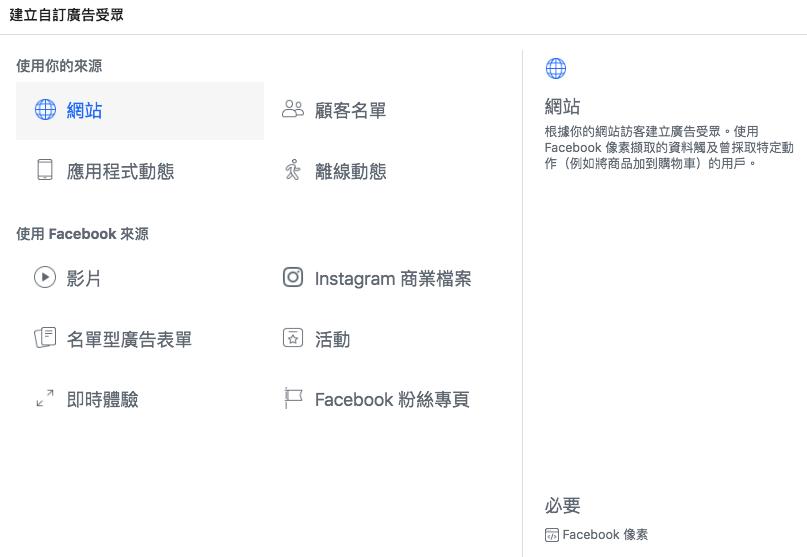 FB廣告 建立廣告自訂受眾